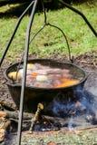 Wycieczkujący podróż puszkuje z kucharstwem na ognisko polewki shurpa Obrazy Royalty Free