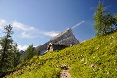 Wycieczkujący up Watzmann górę - Berchtesgaden, Niemcy Fotografia Royalty Free
