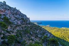 Wycieczkujący na GR 221 w Tramuntana, Mallorca, Hiszpania Fotografia Stock