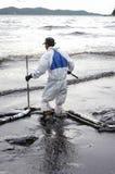 Wyciek ropy na Ao Prao plaży, Kho Samed wyspa. Obraz Royalty Free