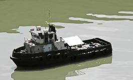 WYCINANKA wizerunek WZORCOWA holownik łódź NA stawie obraz royalty free