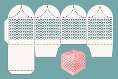 Wycinanki pudełko Obrazu cyfrowego układ dla laserowego rozcięcia i unaocznienia Prezenta pudełko dla prezenta goście przy ślubem Zdjęcie Stock