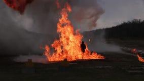 Wyczyn kaskaderski dziewczyna w ognistym wybuchu zbiory wideo