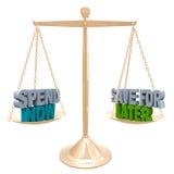 Wydaje Teraz vs Save dla Opóźnionego Balansowego budżeta pieniądze Obraz Stock