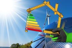 Wydajność Energii - wiatr i energia słoneczna Obrazy Stock