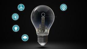 Wydajności energii miasto w żarówce i różnorodnej energooszczędnej ikonie royalty ilustracja