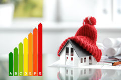 Wydajności energii pojęcie z energetyczną oceny mapą Zdjęcia Stock