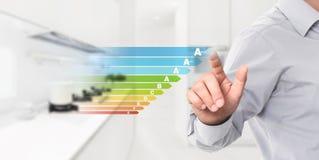Wydajności energii ręki ekran dotykowy z barwionymi symbolami na inte obrazy stock