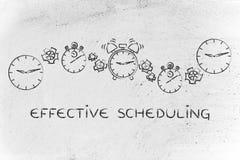 Wydajny planować: zegary, stopwatches i alarmy z gearwh, zdjęcie stock