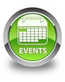 Wydarzeń (kalendarzowa ikona) glansowany zielony round guzik royalty ilustracja
