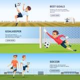 Wydarzenia sportowe Piłka nożna charaktery bawić się futbol Projekta szablon horyzontalni sztandary royalty ilustracja