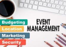 Wydarzenia zarządzanie, biznesowy pojęcie target1166_0_ biznesmena biurka biurowy sieci biel Zdjęcia Stock