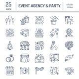 Wydarzenie agencja, ślubna organizacja wektoru linii ikona Partyjny usługowy catering, urodzinowy tort, balonowa dekoracja, kwiat ilustracji