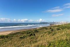 Wydmowy roślinności plaży ocean i Błękitna Chmurna Nabrzeżna linia horyzontu Zdjęcia Royalty Free