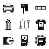 Wydruk ikony ustawiać, prosty styl ilustracji