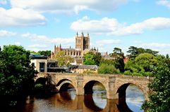 Wye Bridge and Cathedral, Hereford. Royalty Free Stock Photos