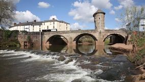 The Wye Valley Monmouth Wales uk medieval fortified river bridge and tourist attraction stock video footage
