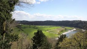 Wye valley view from Wyndcliff wood Chepstow to Severn bridge Wales uk pan. Wye valley view from Wyndcliff wood Chepstow towards the Severn bridge Wales uk stock footage
