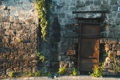 Wygłupy ścienna tekstura z mech i roślina bluszczem, Włochy gór ulicy pojęcie obrazy royalty free