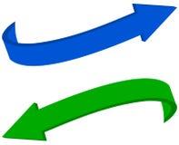 Wyginać się błękitne i zielone strzała Zdjęcie Stock