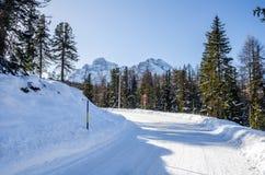 Wyginać się zimy drogę Fotografia Royalty Free