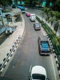Wyginająca się droga - Uliczny widok Bangkok metropolia, strzela z wierzchu wiaduktu zdjęcie royalty free