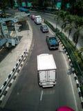 Wyginająca się droga - Uliczny widok Bangkok metropolia, strzela z wierzchu wiaduktu fotografia stock