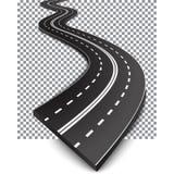 Wyginająca się droga z białymi ocechowaniami ilustracja wektor