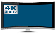 Wyginająca się 4K UHD Ultra Wysoka definicja TV na Białym tle Fotografia Stock