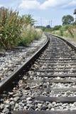 Wyginający się kolejowy ślad zdjęcia stock