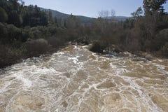 Wygnanie woda po ulewnych deszczów w rezerwuarze Puente Nuevo rzeka Guadiato zdjęcie royalty free