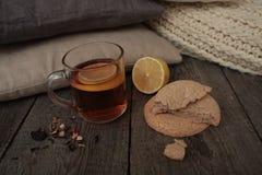Wygoda i herbata z cytryną i ciastkami Zdjęcia Royalty Free