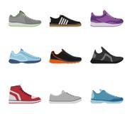 Wygodna but kolekcja odizolowywająca na białym tle Sportwear sneakers, codzienna obuwie odzież w mieszkanie stylu Zdjęcie Royalty Free