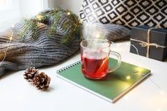 Wygodna poranku bożonarodzeniowy śniadania scena Parująca szklana filiżanka gorący owocowy herbaciany trwanie pobliski okno na nu zdjęcia royalty free