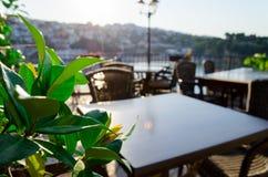 Wygodna prętowa restauracja przy starym miasteczkiem Ulcinj, Montenegro Fotografia Stock