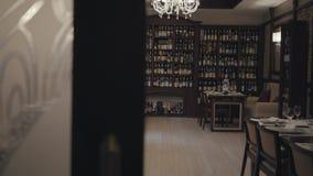 Wygodna sala piękna droga restauracja Wyśmienity wnętrze pub lub kawiarnia Półki z różnymi rozmaitość zbiory wideo
