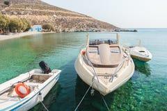 Wygodnego połowu denny schronienie na Greckiej wyspie Kalymnos Obraz Stock