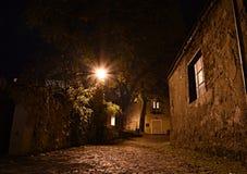 wygodnej domów noc romantyczny morze grać główna rolę ulicę Zdjęcie Royalty Free
