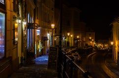 wygodnej domów noc romantyczny morze grać główna rolę ulicę zdjęcie stock