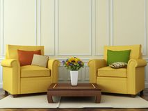 Wygodni krzesła z jesieni dekoracjami Zdjęcie Stock