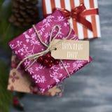 Wygodni prezenty i teksta drugi dzień świąt bożego narodzenia Fotografia Royalty Free