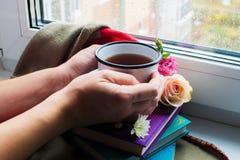 Wygodny życie wciąż: kubek gorąca herbata, rezerwuje i kwitnie z ciepłą szkocką kratą na windowsill Deszczowy dzień outside Czyta zdjęcie royalty free