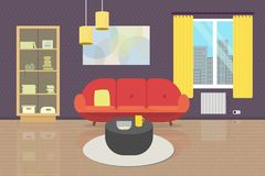 Wygodny Żywy izbowy wnętrze z meble i okno Mieszkanie stylowa ilustracja kanapa, bookcase, stół, lampy, dywan, ścienny p Zdjęcie Stock