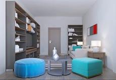 Wygodny żywy pokój wewnątrz relaksuje kolory royalty ilustracja