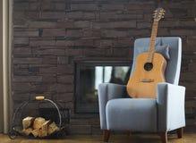 Wygodny żywy pokój z gitarą na karle Obraz Royalty Free