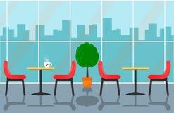 Wygodny cukierniany wnętrze z stołami i krzesłami blisko wielkiego okno, miastowy krajobrazowy na zewnątrz okno Filiżanka z kawy  ilustracji