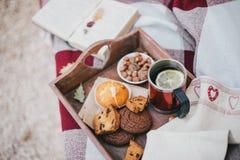 Wygodny jesień pinkin z herbatą i ciastkami Zdjęcia Stock