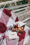 Wygodny jesień pinkin z herbatą i ciastkami Obrazy Stock