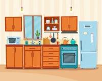 Wygodny kuchenny wnętrze z meble i kuchenką Obraz Stock