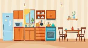 Wygodny kuchenny wnętrze z meble i kuchenką Zdjęcie Royalty Free